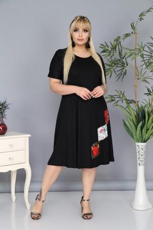 Angelino Fashion - Büyük Beden Cep Detaylı Elbise AF1020 Siyah (1)