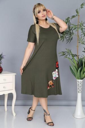 Angelino Fashion - Büyük Beden Cep Detaylı Elbise AF5597 Haki (1)