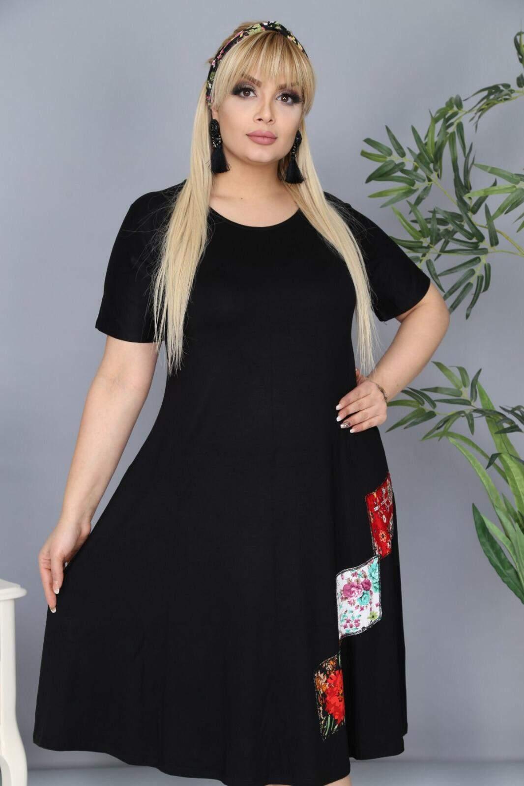 Büyük Beden Cep Detaylı Elbise AF5598 Siyah
