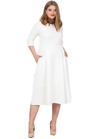 Angelino Butik - Büyük Beden Cepli Elbise Beyaz KL778 (1)