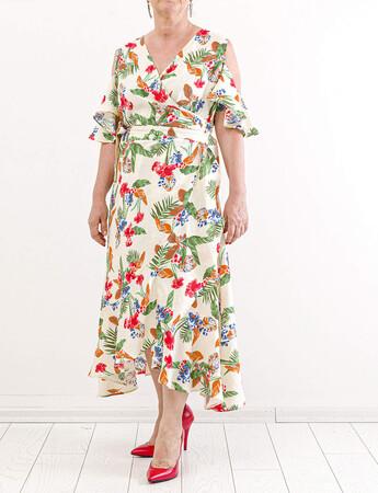 Angelino Fashion - Büyük Beden Çiçek Desen Kol Yırtmaç Detay Elbise KL842 Yeşil (1)