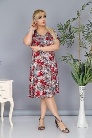 Angelino Fashion - Büyük Beden Çiçek Desenli Elbise AF6601 Kırmızı (1)