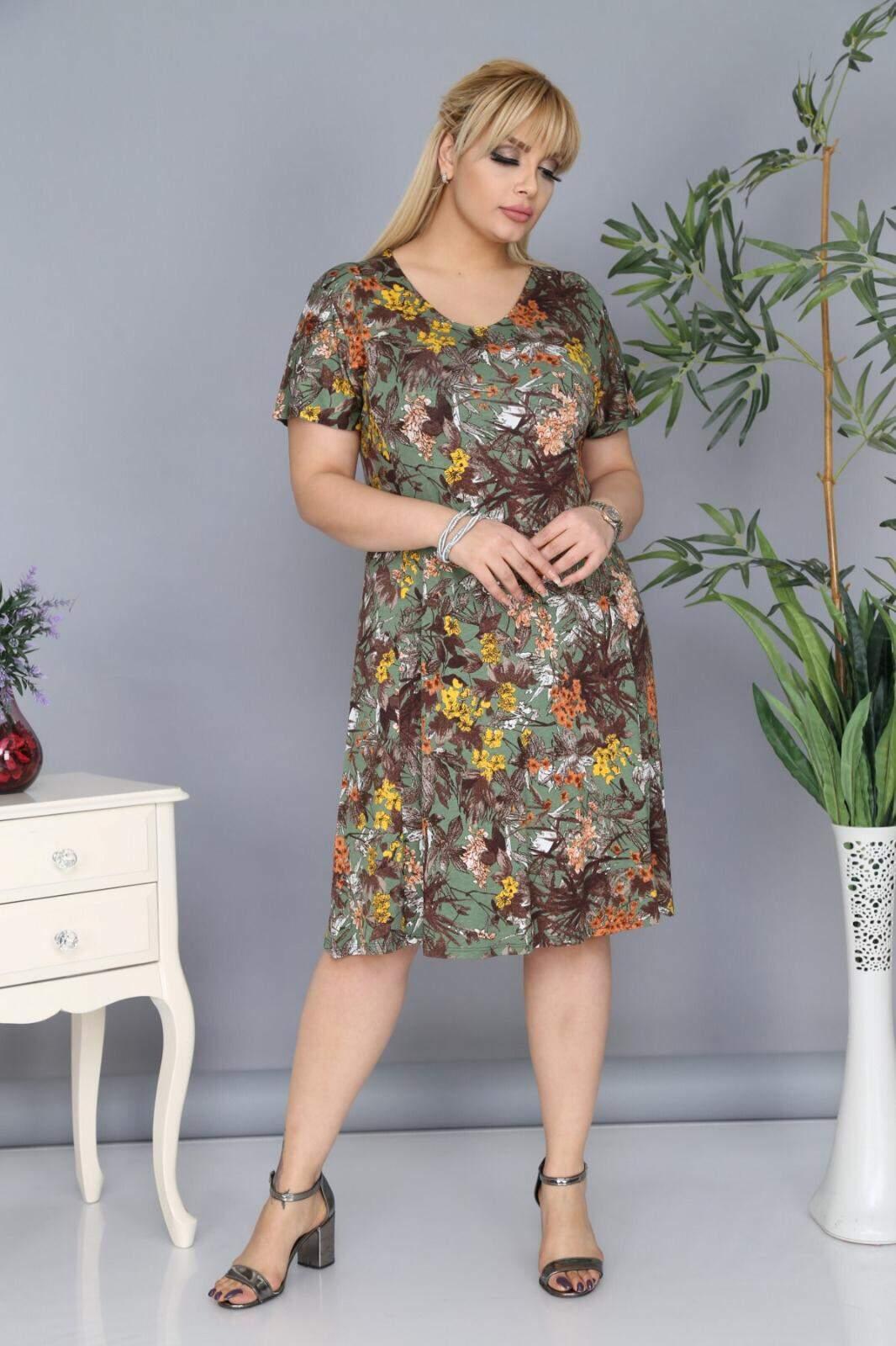 Büyük Beden Çiçek Desenli Elbise AF6602 Haki