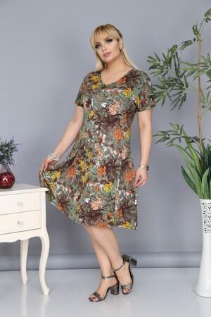 Angelino Fashion - Büyük Beden Çiçek Desenli Elbise BTR6602 Haki (1)