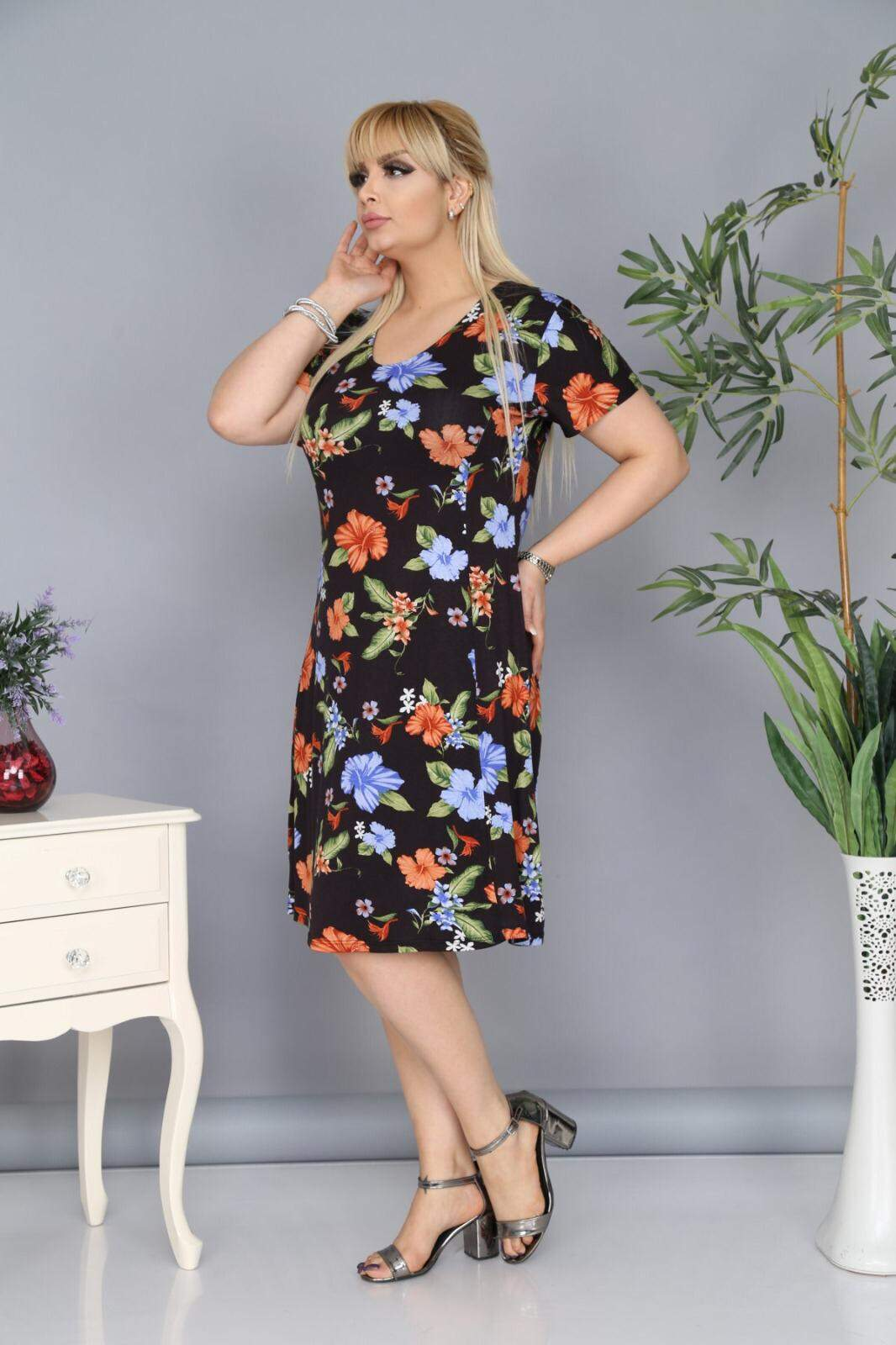 Büyük Beden Çiçek Desenli Elbise AF6603 Siyah