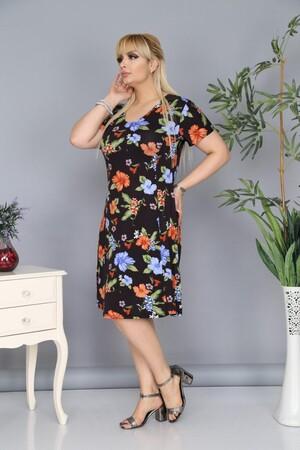 Angelino Fashion - Plus Size Flower Detailled AF6602 Black (1)