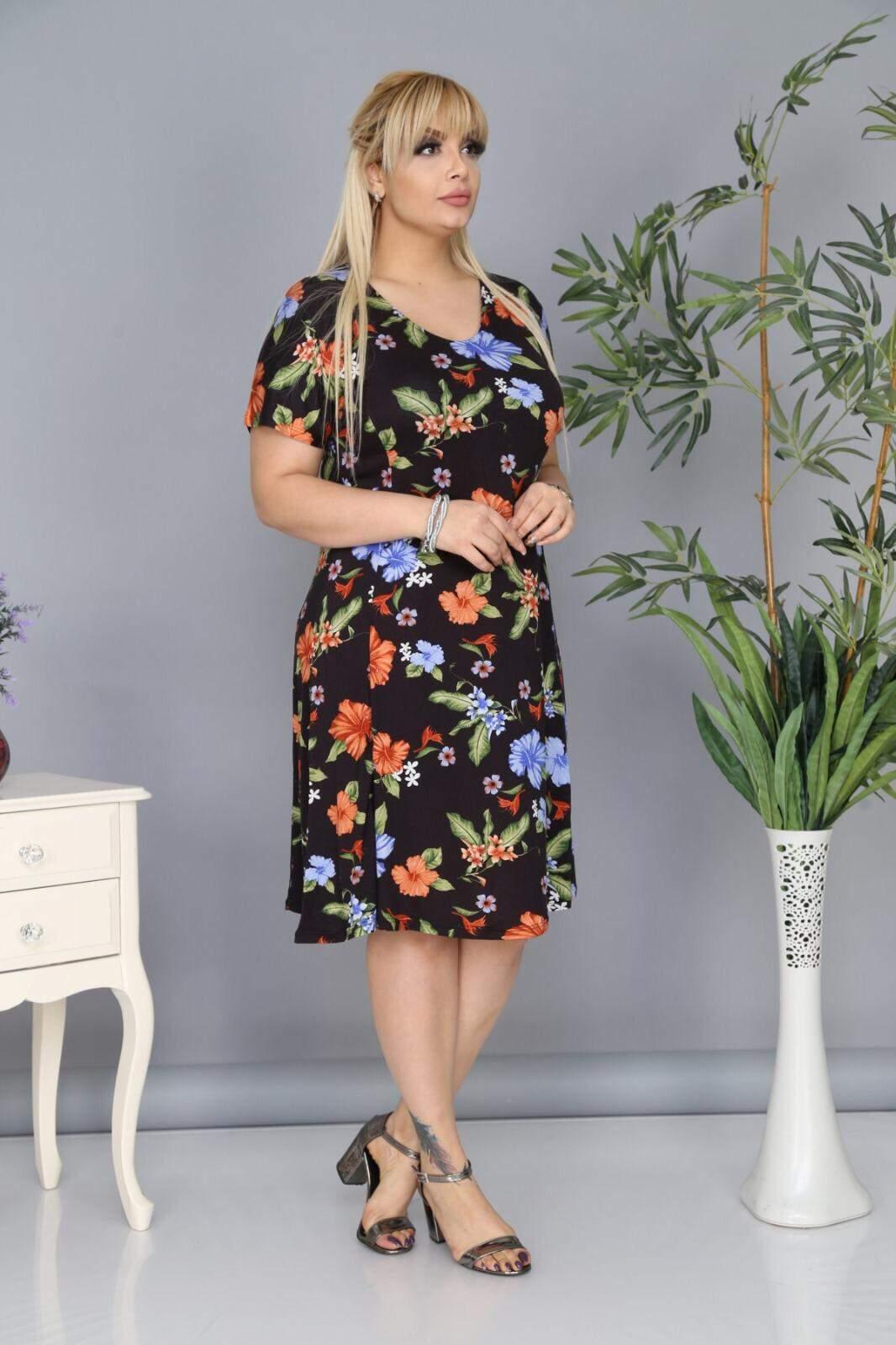 Plus Size Flower Detailled AF6602 Black