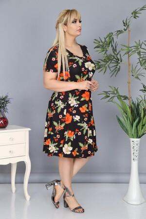 Angelino Fashion - Büyük Beden Çiçek Desenli Elbise AF6604 Siyah (1)