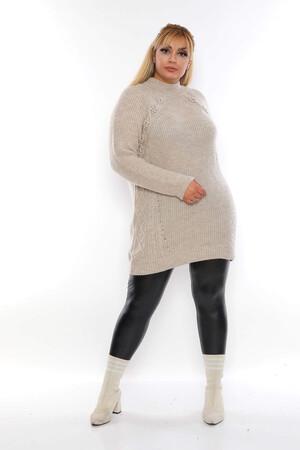 Angelino Fashion - Büyük Beden Çiçek Detaylı Triko Tunik ADN4555 Bej (1)