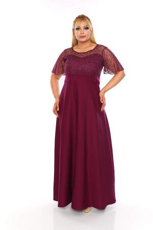 Angelino Butik - Büyük Beden Dantel Detay Uzun Abiye Elbise KL802plrn Mor (1)