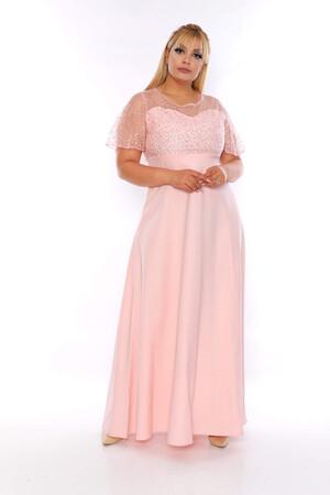 Angelino Butik - Büyük Beden Dantel Detay Uzun Abiye Elbise KL802plrn Pudra (1)