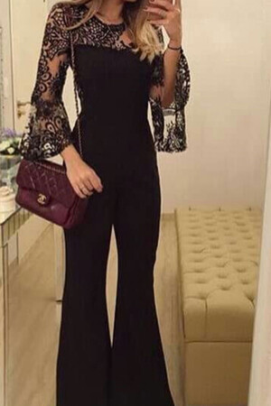 Mangolino Dress - Büyük Beden Dantelli Siyah Tulum MD4436 (1)