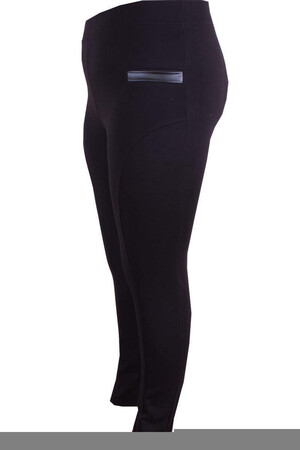 Angelino Fashion - Büyük Beden Deri Cep Detay Tayt 44361 Siyah (1)