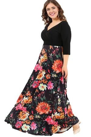 Angelino Butik - Büyük Beden Desenli Esnek Uzun Abiye elbise DD2410 (1)