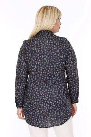 Angelino Fashion - Büyük Beden Desenli Siyah Gömlek AF606 (1)