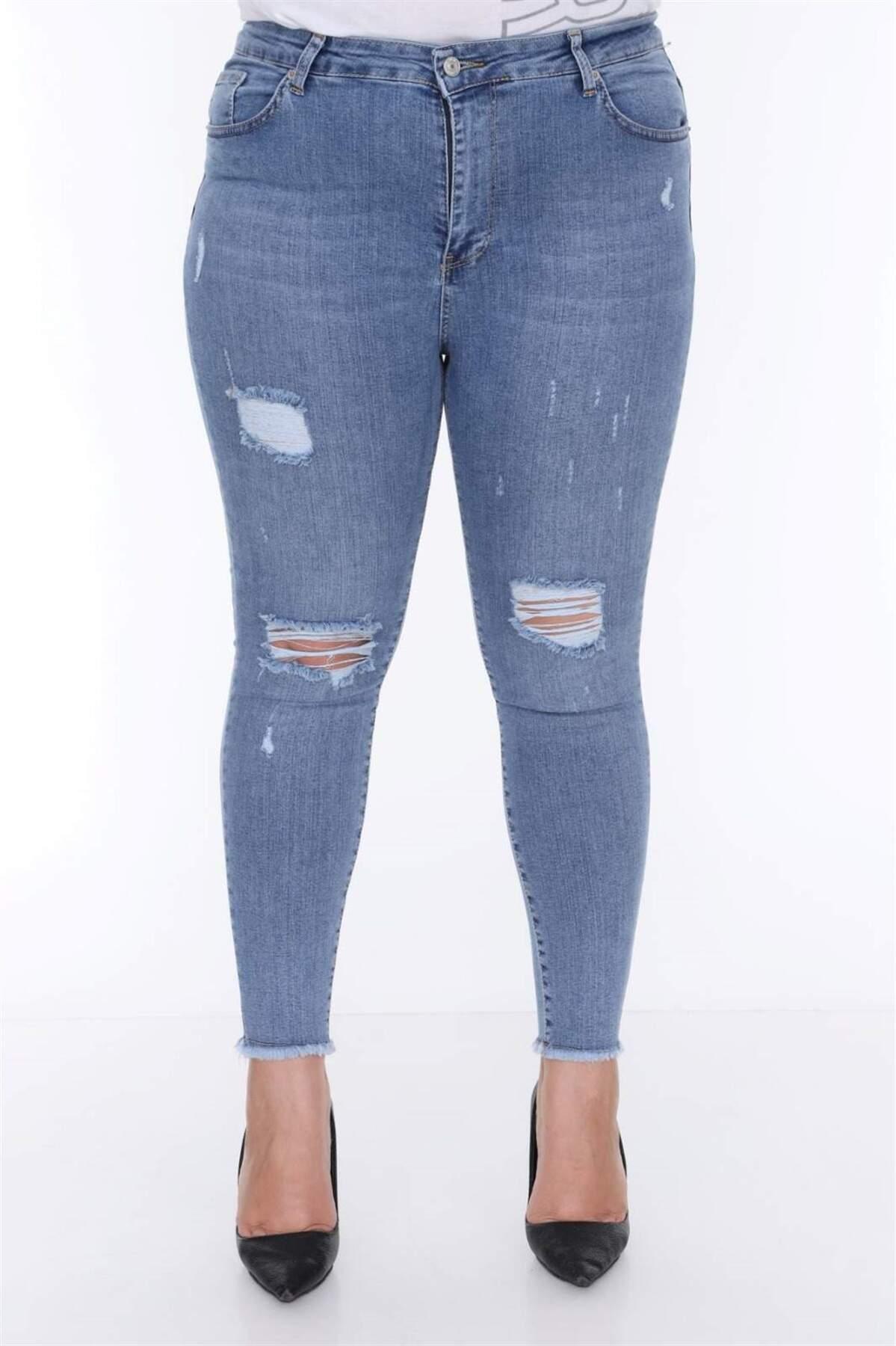 Büyük Beden Dizi Yırtmaçlı Kot Pantolon MF23038 Mavi