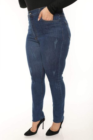 Angelino Butik - Büyük Beden Dizleri Eskitme Detay Esnek Kot Pantolon MT4721 Mavi (1)
