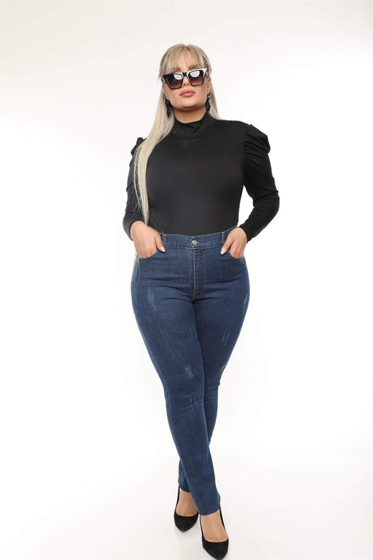 Büyük Beden Dizleri Eskitme Detay Esnek Kot Pantolon MT4721 Mavi