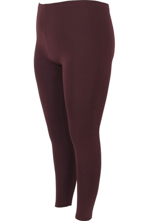Angelino Fashion - Büyük Beden Düz Esnek Tayt 22916 Kahverengi (1)