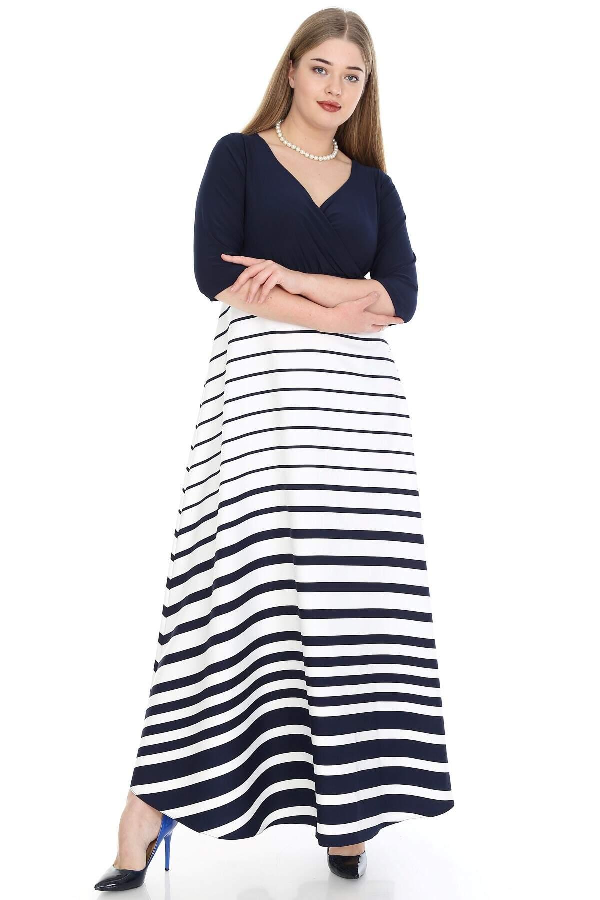 Büyük Beden Elbise Çizgili KL8003u