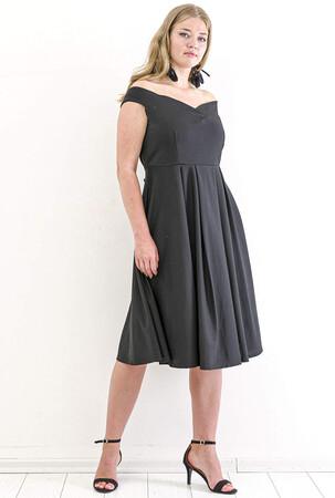 Angelino Butik - Büyük Beden Atlas Öpücük Yaka Elbise KL812k Siyah (1)