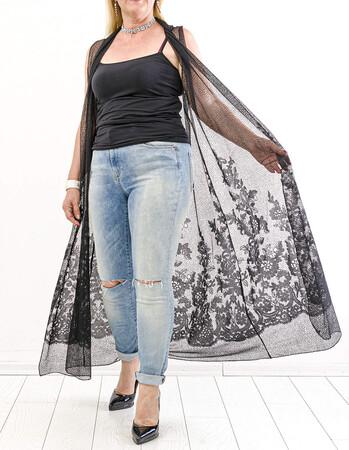Angelino Fashion - Büyük Beden Komple Gofre Güpür Detay Yelek KL837 Siyah (1)