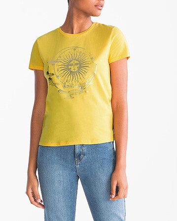 Angelino Butik - Büyük Beden Güneş Baskı Detaylı T-Shirt AT6896 Sarı (1)