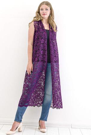 Angelino Fashion - Büyük Beden Komple Güpür Detay Yelek KL837 Mor (1)