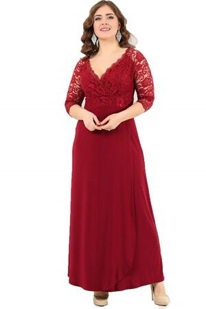 Angelino Butik - Büyük Beden Güpürlü Uzun Abiye Elbise DD8756 (1)