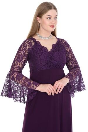 Angelino Butik - Büyük Beden Kolları Volanı Uzun Abiye Elbise KL8756-20 (1)