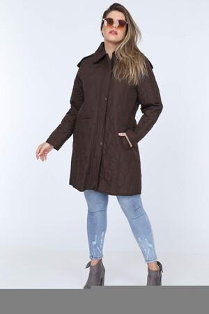 Angelino Fashion - Büyük Beden İçi Peluş Kürklü Desenli Mont MD1323 - MD1324 Kahverengi (1)