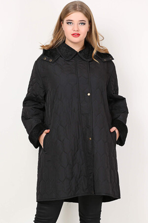 Angelino Fashion - Büyük Beden İçi Peluş Kürklü Desenli Mont MD1323 - MD1324 Siyah (1)