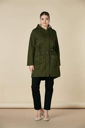 Angelino Fashion - Büyük Beden İçi Tüylü Kapşonlu Uzun Kaban RM9994 Haki (1)