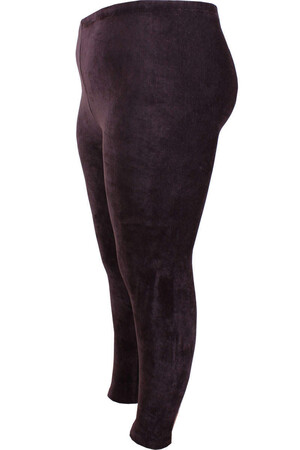 Angelino Fashion - Büyük Beden Kadife Düz Esnek Tayt 22923 Kahverengi (1)