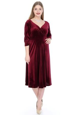Angelino Butik - Büyük Beden Kadife Elbise Bordo 92-KL8003ka (1)