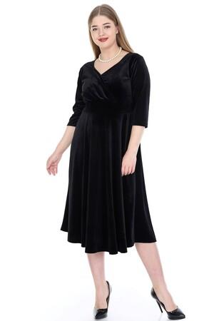 Angelino Butik - Büyük Beden Kadife Elbise Siyah 92-KL8003ka (1)