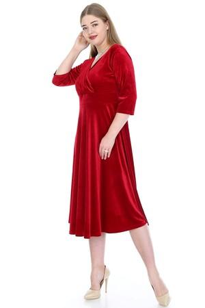 Angelino Butik - Büyük Beden Kadife Esnek Elbise Kırmızı 92-KL8003ka (1)