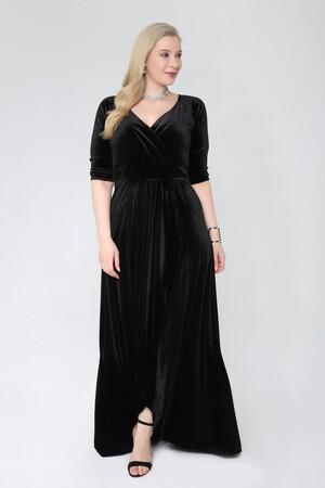 Angelino Butik - Büyük Beden Kadife Uzun Abiye Elbise 92-56k (1)