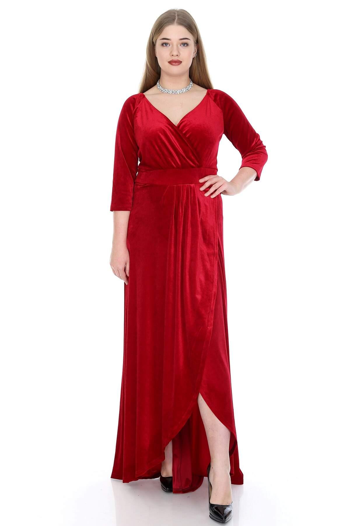 Büyük Beden Kadife Uzun Abiye Elbise KL56ka