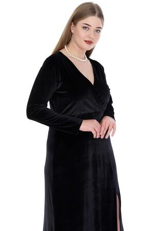 Angelino Butik - Büyük Beden Kadife Uzun Elbise PNR6006 (1)