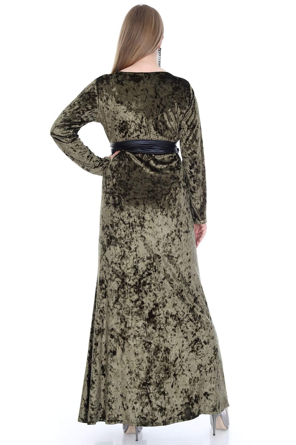 Büyük Beden Kadife Uzun Elbise PNR6006