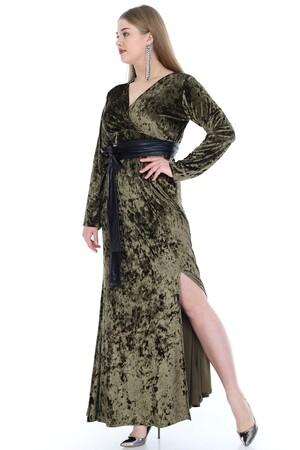 Angelino Fashion - Büyük Beden Kadife Uzun Elbise PNR6006 (1)