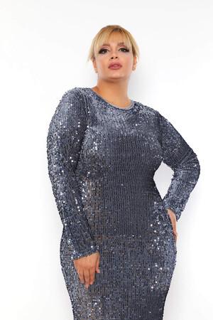 - Büyük Beden Kadife Zara Pul Payet Balık Abiye Elbise BYM3225 Mint (1)