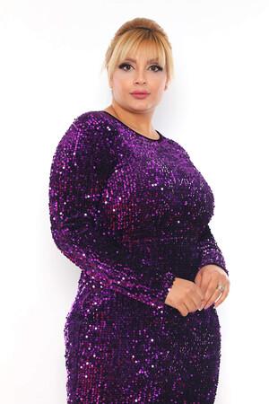 - Büyük Beden Kadife Zara Pul Payet Balık Abiye Elbise BYM3225 Mor (1)