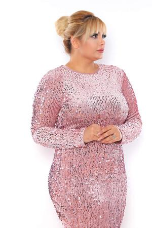 - Büyük Beden Kadife Zara Pul Payet Balık Abiye Elbise BYM3225 Pudra (1)