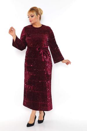 - Büyük Beden Kadife Zara Pul Payet Kemer Detay Abiye Elbise BYM3216 Bordo (1)