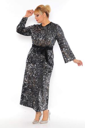 - Büyük Beden Kadife Zara Pul Payet Kemer Detay Abiye Elbise BYM3216 Gümüş (1)