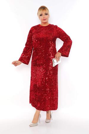 - Büyük Beden Kadife Zara Pul Payet Kemer Detay Abiye Elbise BYM3216 Kırmızı (1)