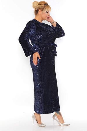 - Büyük Beden Kadife Zara Pul Payet Kemer Detay Abiye Elbise BYM3216 Lacivert (1)