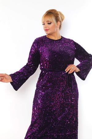 - Büyük Beden Kadife Zara Pul Payet Kemer Detay Abiye Elbise BYM3216 Mor (1)